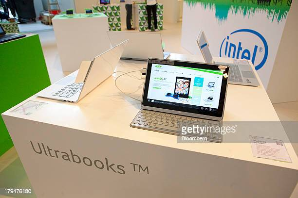 An Acer Inc Ultrabook computer sits on a plinth ahead of the opening of the IFA consumer electronics show in Berlin Germany on Wednesday Sept 4 2013...