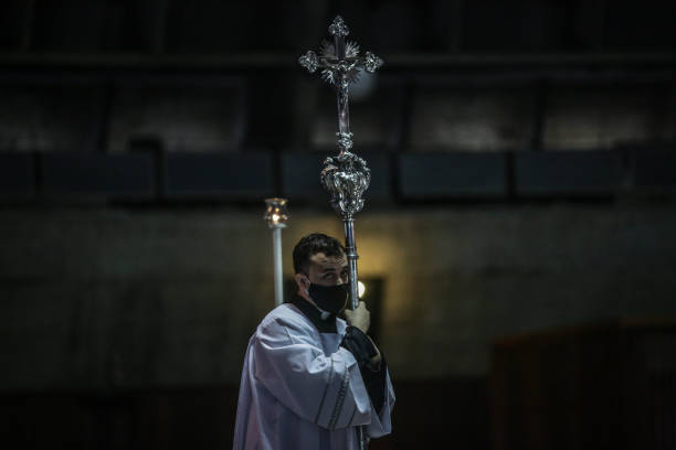 BRA: First Sunday Mass at the Rio Metropolitan Cathedral as The City of Rio Lifted The Restrictions on the Celebration of Masses and Cults Amidst the Coronavirus (COVID - 19) Pandemic