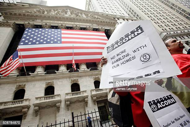 An ACORN organized protest in front of the New York Stock Exchange demanding an end to home foreclosures and a middle class bailout