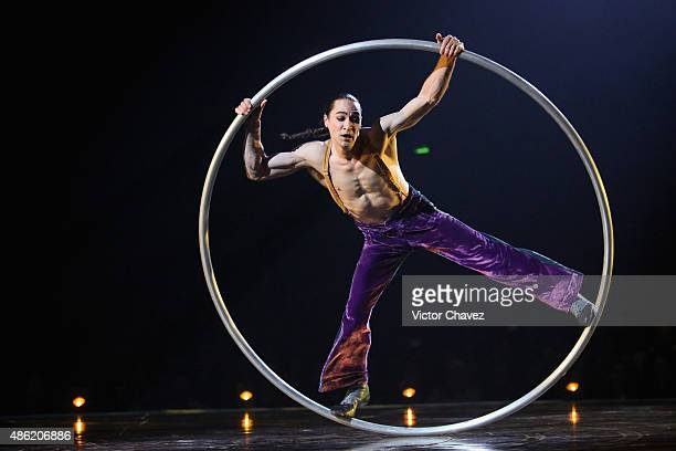 An acrobat from Cirque Du Soleil performs in the show 'Corteo' at Carpa Santa Fe on September 1 2015 in Mexico City Mexico