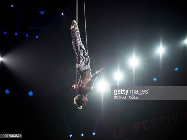 An acrobat performs during the 43rd International Circus Festival of MonteCarlo on January 20 2019 in Monaco Monaco