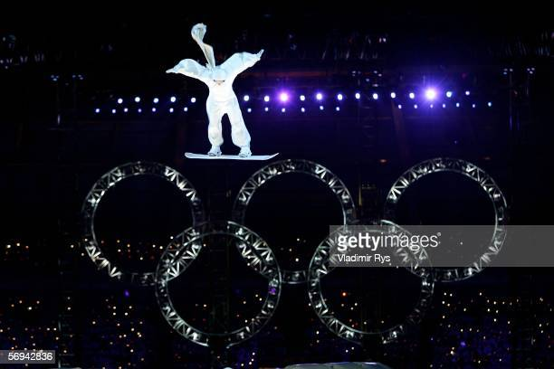 An acrobat performs during the Closing Ceremony of the Turin 2006 Winter Olympic Games on February 26, 2006 at the Olympic Stadium in Turin, Italy.