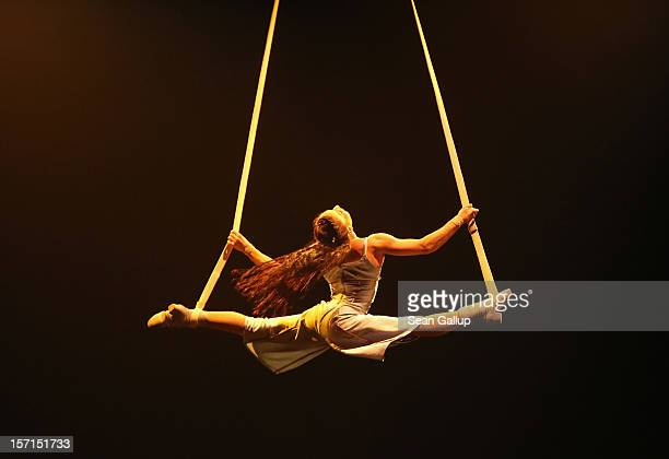 An acrobat performs during the Corteo production at the Cirque Du Soleil circus dress rehearsal on November 28 2012 in Berlin Germany Cirque Du...
