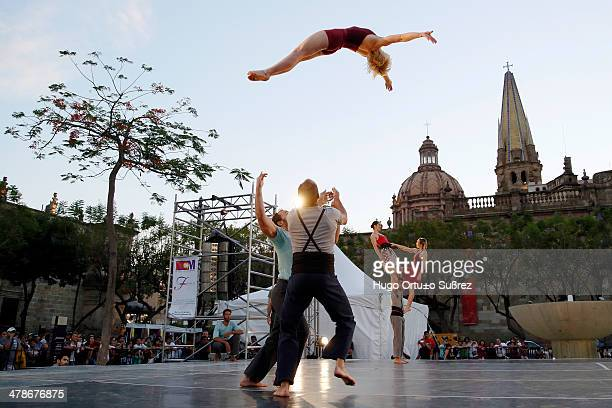 CONTENT] GUADALAJARA JALISCO MEXICO MAY 11 An acrobatic jumps as part of their performance during the Festival Cultural de Mayo in its issue number...