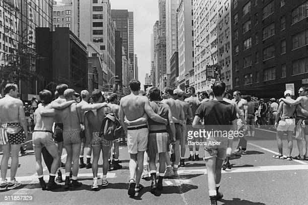 An 'Act Up' march on Fifth Avenue, on the 25th anniversary of the Stonewall Riots, New York City, USA, 26th June 1994.