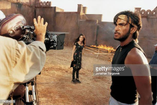 An action scene on the set of Ab Ke Baras at Film City January 2002 in Mumbai India Film City a large tract of land owned by the state that provides...