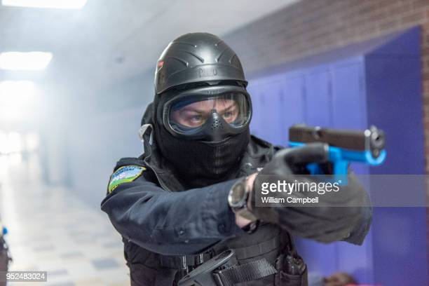 An active shooter drill is performed by the Livingston Police Department the Park County Sheriff's Office and Livingston Fire Department EMS at Park...