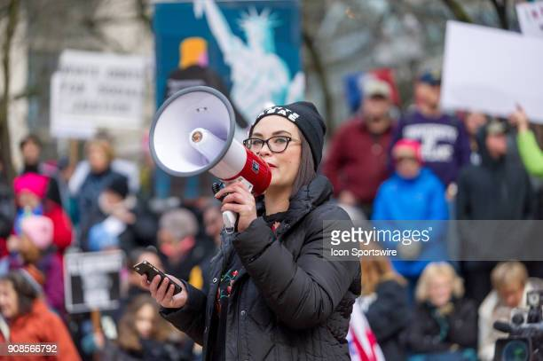 An activist addresses the crowd at Portland's National March for Impeachment on January 20 in downtown Portland OR