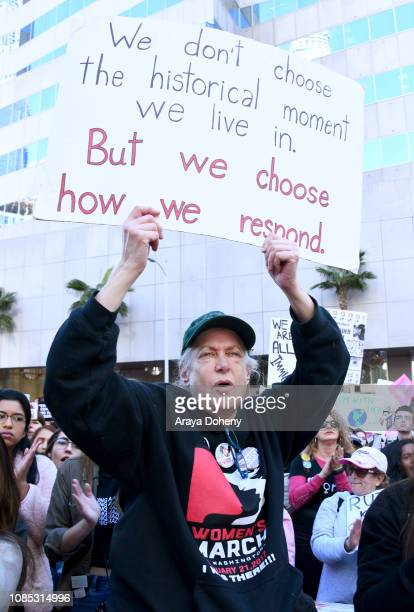 An activist attends the 2019 Women's March Los Angeles on January 19 2019 in Los Angeles California