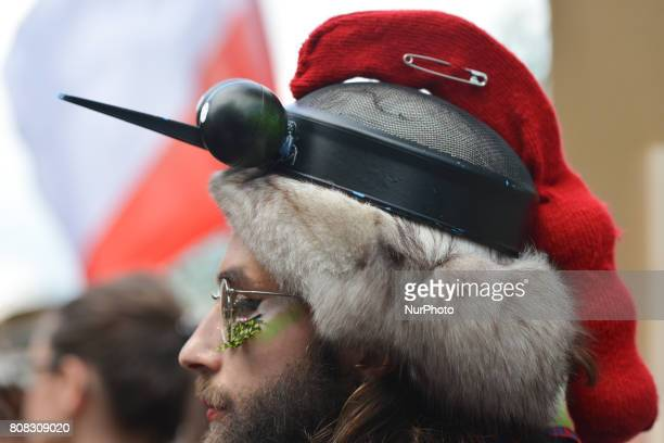 An activist dressed as a woodpecker Activists and protesters from 'Love Primeval Forest of Bialowieza' during a protest in front of ICE Congress...