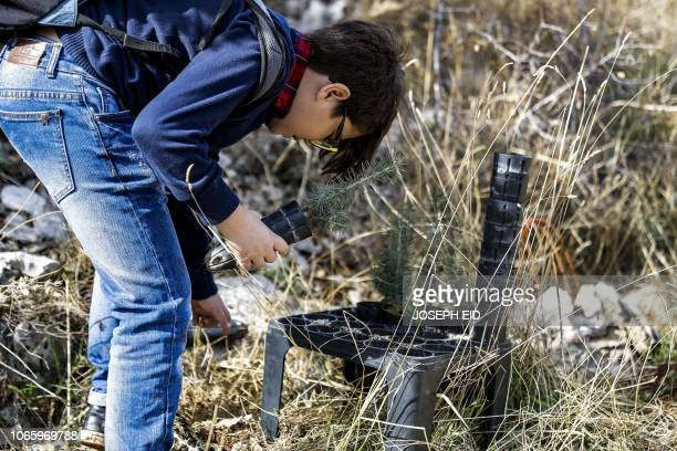An activist from Lebanese NGO Jouzour Loubnan prepares to plant young a cedar on the slopes of the Jaj Cedar Reserve Forest in the Lebanon mountains...