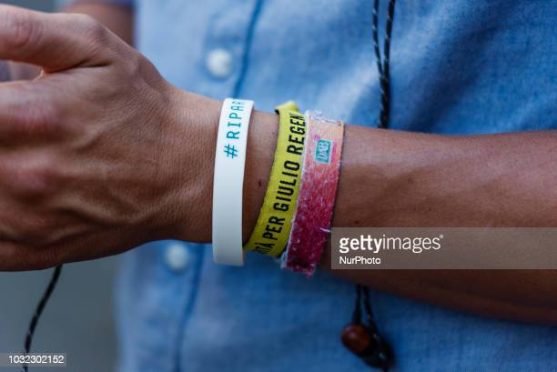 An activist of human rights organisation Amnesty International wears a bracelet showing the slogan quotTruth for Giulio Regeniquot during a...