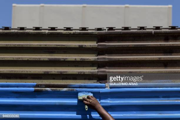 An activist paints the USMexico border wall as part of the Picnic prototype Security through Friendship activity at the border near US President...