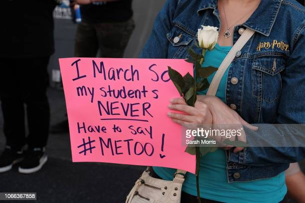 An activist participates in the 2018 #MeToo March on November 10, 2018 in Hollywood, California.