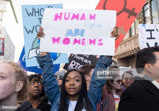 An activist participates in the Women's March Los Angeles 2018 on January 20 2018 in Los Angeles California