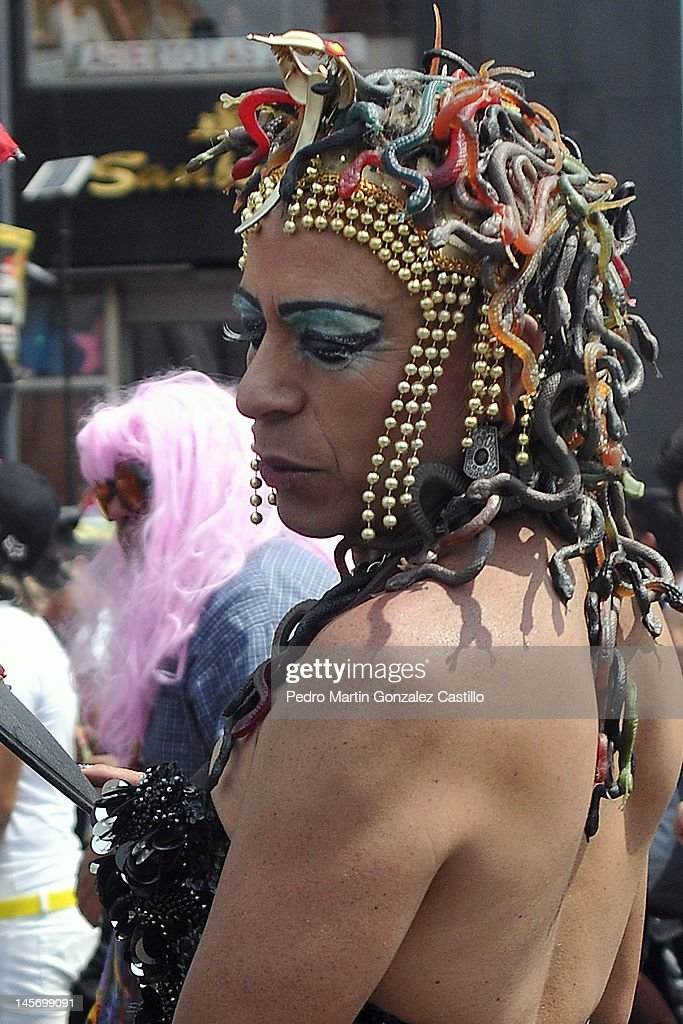 An activist poses for a photograph in a march for Sexual Diversity on 02 June in Mexico City, Mexico.