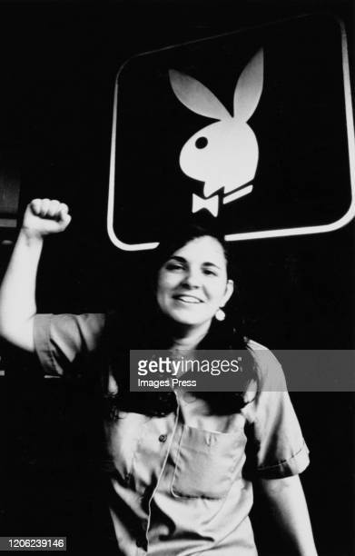 An activist raises her fist during a protest outside the Playboy headquarters in New York City, US, circa 1970.