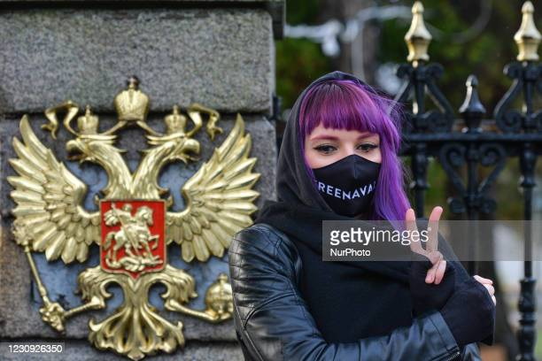 An activist seen during a protest in support of the imprisoned Russian opposition leader Alexei Navalny in front of the Russian embassy in Dublin. On...