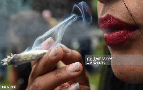 An activist smokes a joint during a prostest under the motto No vamos a pagar lo vamos a pegar against the imposing of fines for smoking marijuana by...