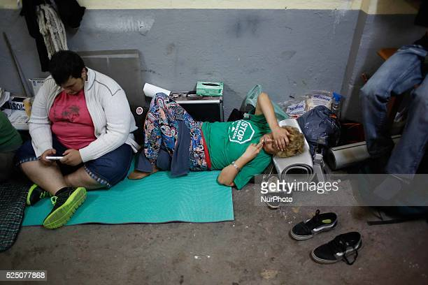 An activist try to sleep during the permanent camping in Ofelia Nieto 29 building in tetuan Madrid Hundreds of activists and neighbors spend the...