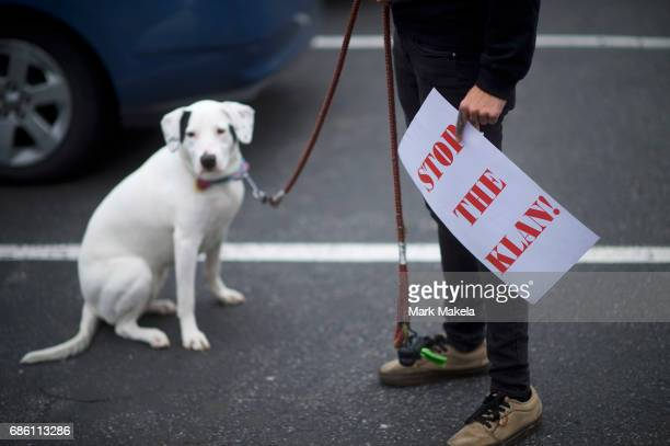 An activist with a puppy prepares to affix her car with a protest posters against the Klu Klux Klan before driving in a caravan through the...