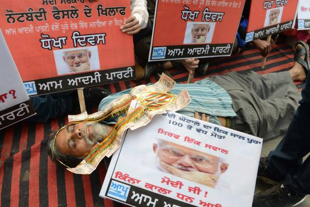 An activist with the Aam Aadmi Party takes part in a protest against Indian Prime Minister Narendra Modi and the demonetisation scheme in Amritsar on.