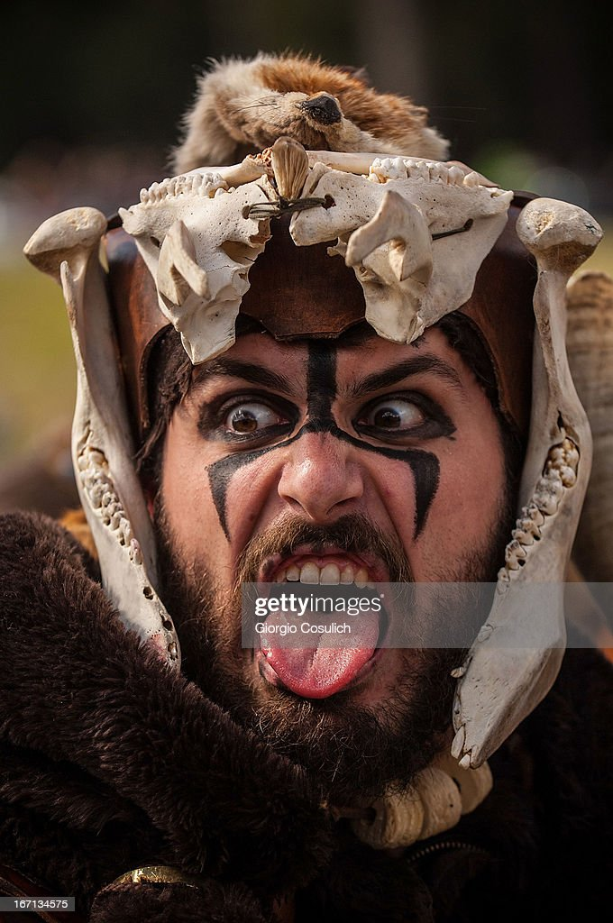 An actor dressed as ancient barbarian soldier gestures as he march in a commemorative parade during festivities marking the 2,766th anniversary of the founding of Rome on April 21, 2013 in Rome, Italy. The capital celebrates its founding annually based on the legendary foundation of the Birth of Rome. Actors dressed as the denizens of ancient Rome participate in parades and re-enactments of the ancient Roman Empire. According to legend, Rome had been founded by Romulus in 753 BC in an area surrounded by seven hills.