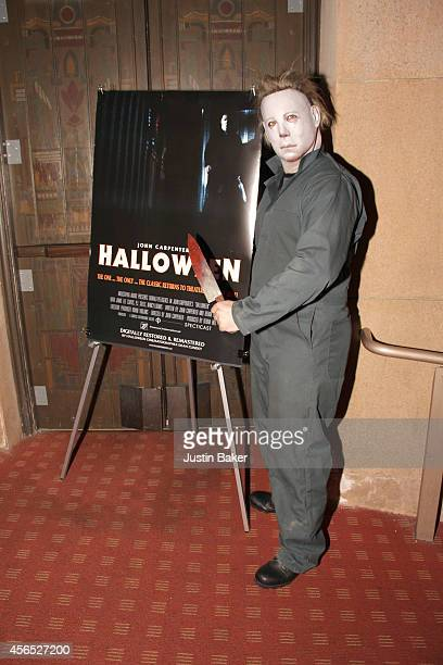 An actor dressed as 'Halloween' character Michael Myers attends the American Cinematheque Film Series' Beyond Fest Halloween Screening And QA With...