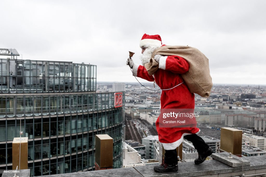 Santa Claus Lands On Kollhoff Tower : News Photo