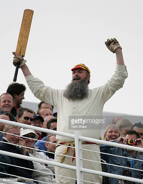 An actor dressed as W.G. Grace entertains in the crowd during day two of the Fourth npower Ashes Test between England and Australia on August 26,...