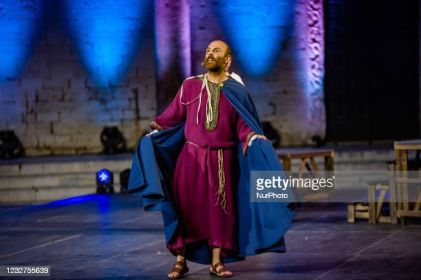 An Actor during the show on the occasion of the Feast of San Nicola in front of the Basilica of San Nicola in Bari on May 7, 2021. The Basilica of...