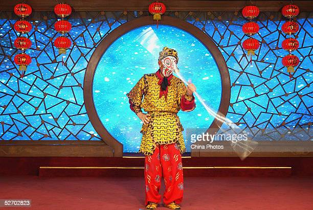 An actor from the Beijing Opera performs during a rehearsal of a show to welcome Taiwan's Nationalist Party chariman Lien Chan at Laoshe Teahouse on...