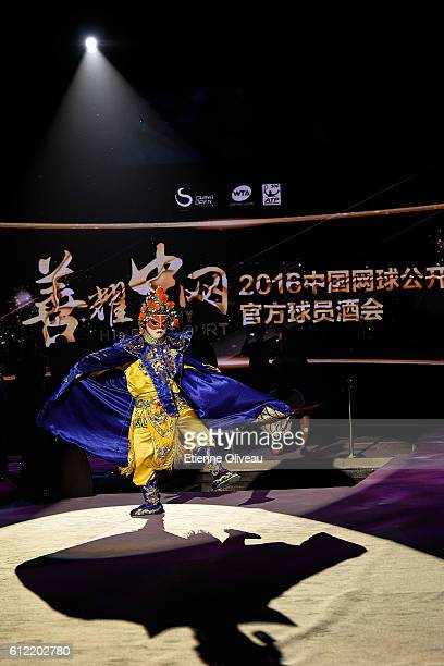 An actor in Chinese Opera costume performs during the 2016 China Open Player Party at The Birds Nest on October 3 2016 in Beijing China