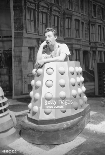 An actor inside his Dalek costume on the set of the BBC television show 'Doctor Who' London September 25th 1964