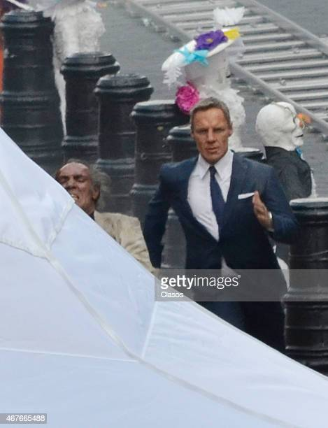 An actor is seen on the set of Spectre starring Daniel Craig on March 26 2015 in Mexico City Mexico