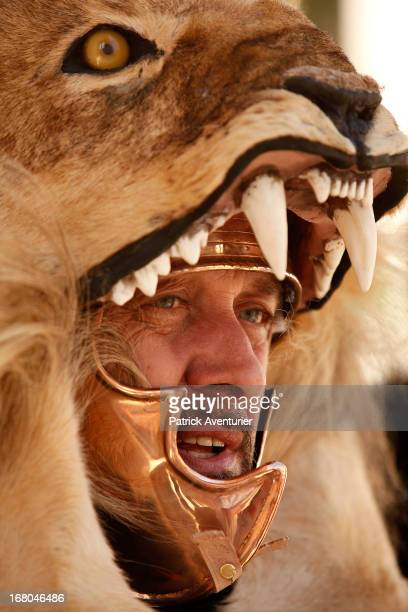 An actor participates in the historic recreation of the Battle of Alesia where Julius Ceasar with Mark Antony and Roman battalions fought against...