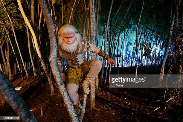 An actor performing as the one of the title characters Ciung half man half monkey is seen during the production of Ciung Wanara one of the many...