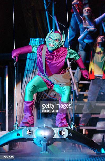 An actor performs as the The Green Goblin during Spiderman Rocks the new live stunt show at Universal Studios Hollywood May 23 2002 in Universal City...