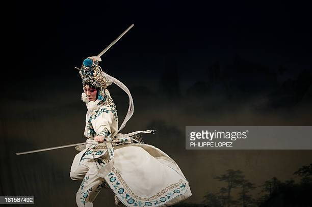 An actor performs during a Cantonese Opera in Hong Kong on February 12 2013 as part of the Chinese New Year celebrations held in the city Other than...