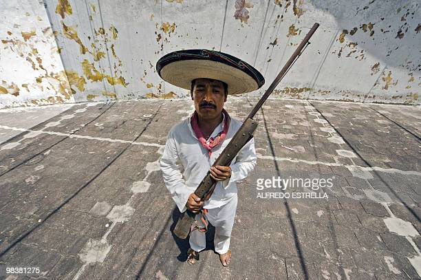 An actor performs the Death of Zapata during the anniversary of the death of Mexican heroe Emiliano Zapata in Chinameca community Morelos State...
