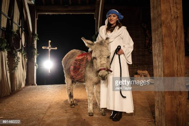 An actor playing the role of Mary poses with a donkey after taking part in a dress rehearsal of the Wintershall Nativity play in a barn at the...