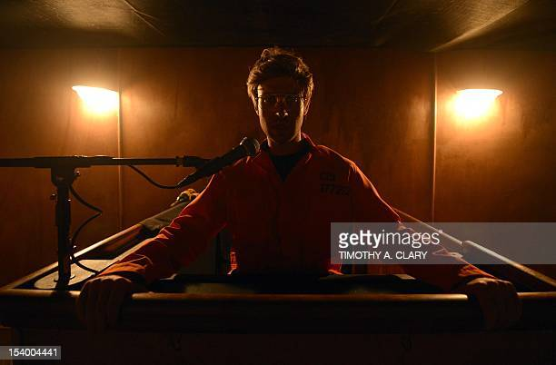 An actor portrays serial killer Jeffrey Dahmer at Killers A Nightmare Haunted House at Clemente Soto Vélez Cultural Center on October 5 2012 Visitors...