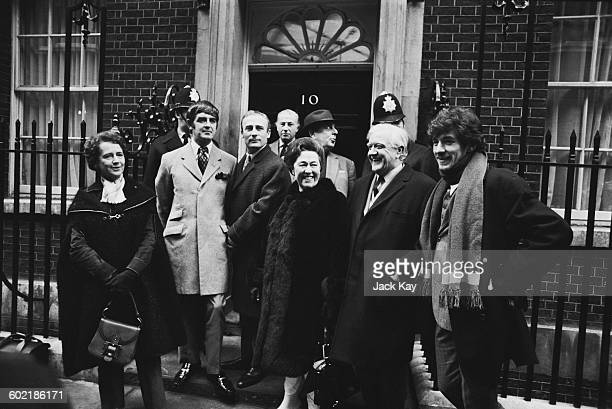 An actors' demonstration over the Industrial Relations Bill at 10 Downing Street London 12th January 1971 From eft to right Equity members Dame Peggy...