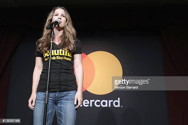 An actress from Broadway's Beautiful The Carole King Musical performs at a MasterCard exclusive event Variety presents Broadway Tastes hosted by Neil...