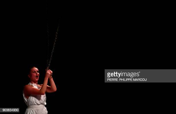 An actress performs during a rehearsal for Mount Olympus To glorify the cult of tragedy by Belgian stage director Jan Fabre in Madrid on January 11...