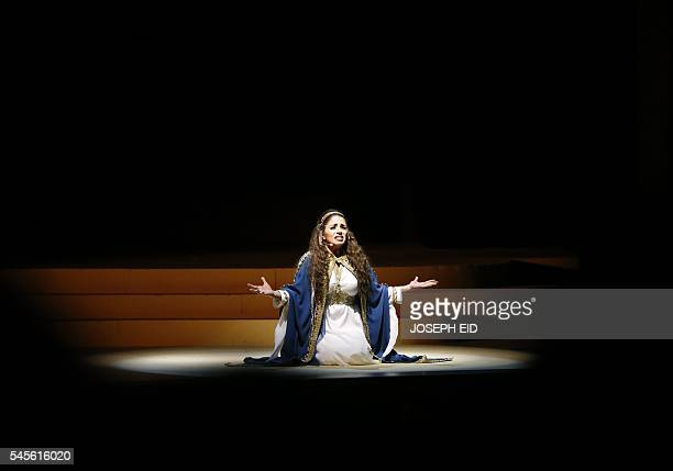 An actress performs in 'Antar and Abla' the first Lebanese opera in Arabic to be completed and performed in the region at the theatre of the Casino...