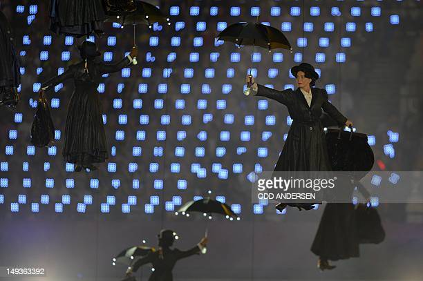 An actress playing Mary Poppins flies into the children's literature scene during the opening ceremony of the London 2012 Olympic Games on July 27...