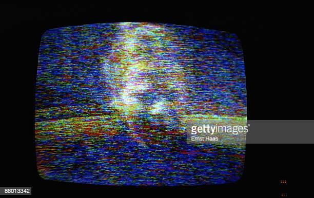 An actress seen through static on a TV screen July 1974