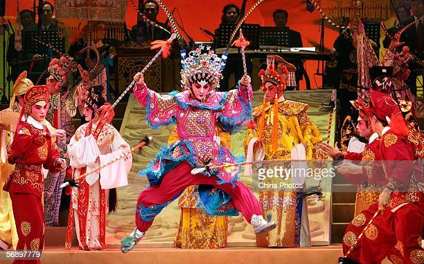 An actress uses spears during Guangdong Opera performance on February 21 2006 in Guangzhou of Guangdong Province China Guangdong Opera also known as...