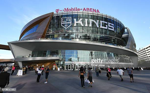 An ad for the Los Angeles Kings' annual Frozen Fury preseason NHL games is shown on TMobile Arena's video mesh wall before a preseason game between...